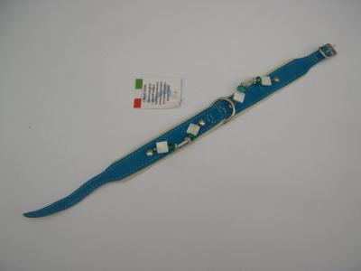 Halsband blauw suede/leer